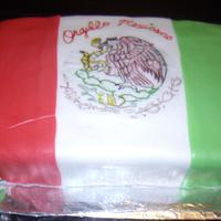 Mexican Flag Cake made with fondant. My first flag cake