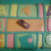 Baby Shower Cake butter cream icing covered in fondant