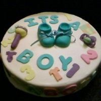 Baby Shower Cake Butter cream with fondant decorations.