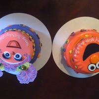 Elmo And Abbycadaby ELMO AND ABBYCADABY - BIRTHDAY CAKES FOR TWIN GIRLS. FONDANT AND BUTTERCREME