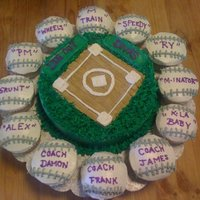 "Dug Out Divas SOFTBALL FIELD ""12' ROUND"" SURROUNDED BY CUPCAKES SOFTBALLS WITH ALL THE PLAYERS NAMES ON THEM."