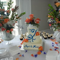 Blue And Orange Wedding Used the cake cricut to cut out the accents. I'm starting to like my machine after pounding my head for months.... Key to it is...