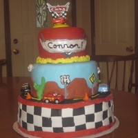 Cars Cake This is only my second cake ever, still learning. But it is my version of the various cars cakes here on CC. The teirs are chocolate,...