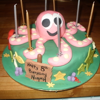 Octopus Birthday Party Cake Vanilla madeira cake covered in buttercream then decorated with fondant. The octopus is made from fondant. I used white chocolate chips for...