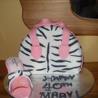 40Th Birthday Zebra Bag And Shoe Cake This is a rich chocolate cake decorated with fondant and a shoe made from fondant. It was for my sister in laws 40th birthday but would...