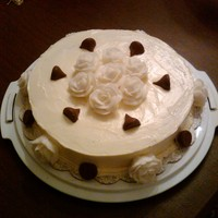 Happy Anniversary Vanilla cake with Chocolate Hazelnut Center and Swiss Meringue Buttercream