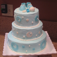Baby Blue Shower Cake Vanilla, snickerdoodle and carrot, buttercream with MMF details
