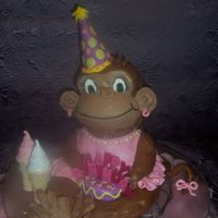 Monkey Cake I used doll pan, sm round on top and did some shaping, Head is ball pan w/ bottom cut to flatten and the cut in half . Top half was cut in...
