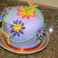 3-D Flower Cake! I used the Wilton flower formers to make the flowers stand up. This is a 5x6 inch cake.