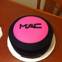 Mac Blush Cake 10 inch round, fondant covered.