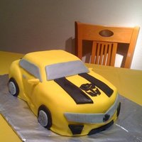Bumblebee Cake Carved transformer, covered in fondant.
