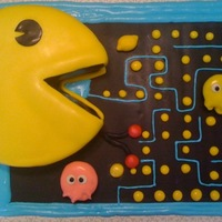 Pac Man Cake This was my first attempt at this cake. I will be making it again soon and I see where I'd make changes. The ghosts were made from...