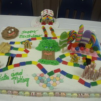 My First Cake This Candyland Cake was done for a set of three year old twins. It is also the largest cake that I have done.