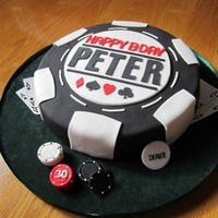 Pa-Pa-Pa Poker Cake, Pa-Pa Poker Cake! Cake for my friend's husband's 30th poker...a reproduction of a cake I saw here on CC, I changed the winning hand though and...