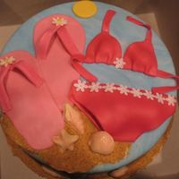Beach Theme   10 in vanilla with raspberry filling. Covered in MMF and decorated in MMF