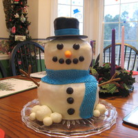 Snow Man Pound cake covered with MMF. All decorations made with MMF. Enjoy!