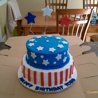 Bithday/labor Day/memorial Day/flag This is a BC cake with fondant accents made for a birthday/labor day party.
