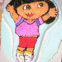 Dora The Explorer My niece's 4th birthday cake and the first time I tried a character pan like this.