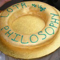 "Lord Of The Rings This is a cake I ""helped"" my nephew make for class. Gold luster dust on fondant."