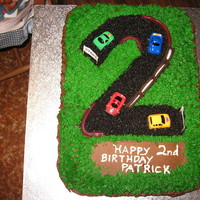 Race Track Cake Chocolate cake with buttercream.