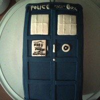 Dr. Who Tardis Cake This is my first fondant cake, made for a Dr. Who party celebrating the new season. I haven't been making cakes long so I'm not...