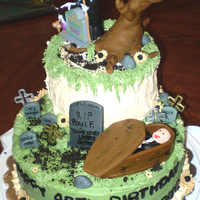 Birthday Cake For A Mortician I made this cake for my friend's husband who's a mortician. She wanted a 'death' theme, so I came up with this and...