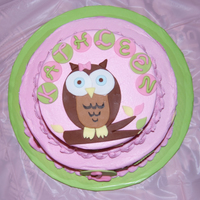 1St Birthday Cake , Owl Theme I made this cake for my daughter's 1st birthday. The theme was an owl I saw in some party decorations on birthday express dot com. Two...