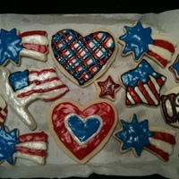 Patriotic Cookies   Sugar cookies with royal icing decorated in a patriotic theme - inspired by many different cookies I've seen