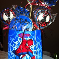 Spider Man Cookies Cream cheese sugar cookies with royal icing