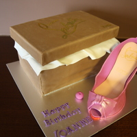 Louboutin Shoe Box And Shoe Cake Lid of box was styrofoam covered in fondant. Need more practice on the shoe