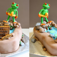 Frog And Pond Cake   Made for a life coach who uses this frog as a teaching tool. Frog and sign in gp, rest in fondant.