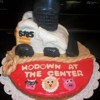 Bobcat Tractor Hodown Cake! Yes, i know hodown is spelt wrong but thats how they wanted it spelt! haha, tractor s185 bobcat, brown sugar for dirt & a mmf rope to...