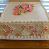 Pina Colada Pina Colada Cake with Pink Primroses and Appleblossoms
