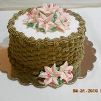 Basketweave Lemon Cake with basketweave BC, Peach Lilies