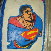 Superman  This was another wreck from the beginning. It is 1/2 sheet cake with a buttercream transfer. Everything seemed to be going ok until I put...