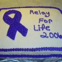 2006 Relay For Life   Made for the 2006 Relay for Life Survivor's Dinner. I traced the ribbon and filled it in with tip #21 stars.