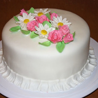 Final Cake For Gum Paste And Fondant Class   My first time covering a cake in fondant and making gum paste flowers...