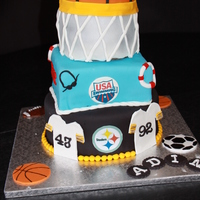 Steelers, Swimming And Basketball Cake. This cake was for my son's 9th birthday. He loves the Steelers, swimming (he swims on a swim team) and basketball. Each layer is a...