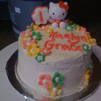 Hello Kitty hello kitty smash cake. buttercream with fondant accents. the hello kitty figurine is actually a balloon weight