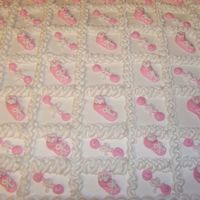 Baby Shower Sheet Cake To Go With Bassinet Cake  I did three sheet cakes like this one (total feeding about 300) to go with the white and pink cake with baby in bassinet on top! Lots of...