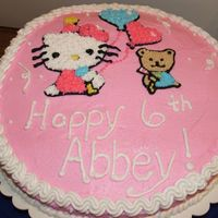 Hello Kitty  Drew this on cake to match the plate! Did a sheet cake to put this on - did it with pink and white to match plate! Was disappointed the...