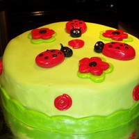 Cute Ladybugs   My very first time decorating a cake with fondant...