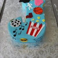 """j"" Cake   Initial cake for a twelve year old graduating 6th grade. Congrats Jada!"