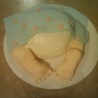 "Baby Booty Cake My first ""booty cake"" Yellow cake with cream cheese frosting, raspberry filling!! Legs and feet RKT, fondant blanket. TFL!"