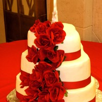 Hearts & Roses Heart shaped tiers . . . all buttercream . . . silk flowers