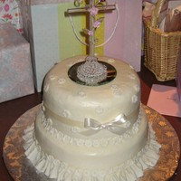 Baptism All buttercream except for sugar paste flowers & pearls and crystal cross.