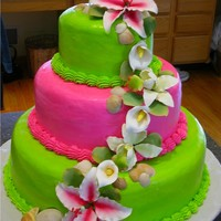 Tropical Wedding . . . all buttercream except for sugar paste flowers. They got married in the Carribean and wanted a tropical cake for their '...