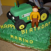 John Deere Tractor This for for a little guy's 2nd birthday. Tractor is chocolate kahlua cake with fondant covering. The wheels are rice krispy treats...