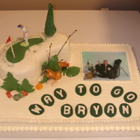 Golfing Grad All buttercream, except fondant accents; wafter picture.