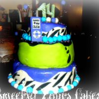 Teen Birthday Cake  I had a blast on this cake!!!! The top and bottom ties are chocolate cake with a oreo cream filling!! And the middle tier is a yellow cake...